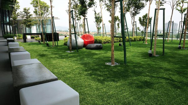 outdoor office with fake grass