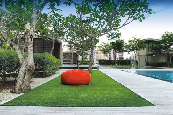 sit under the trees on artificial turf