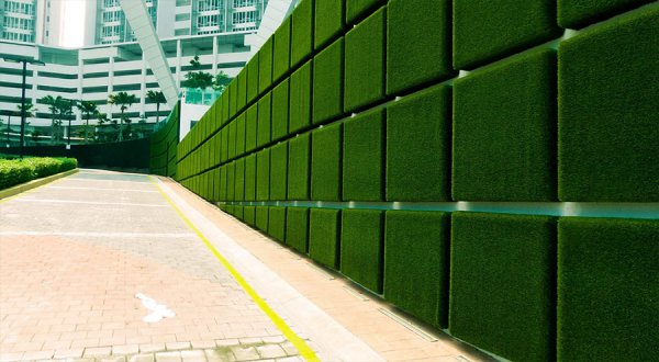 synthetic turf panels for a green wall