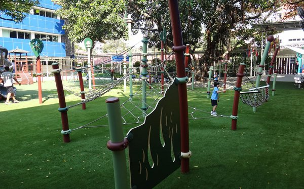 playground with soft fake grass