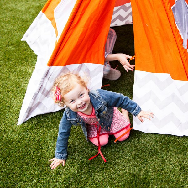 camping on artificial grass
